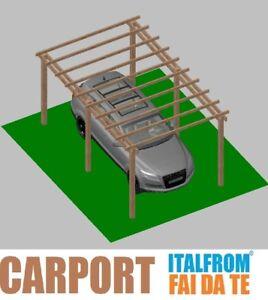 Carport in Legno 5 x 3 Tettoia per Auto Pergola Gazebo Garage ad Interrare