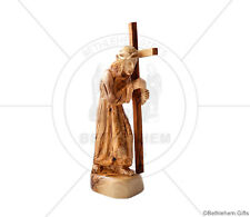 Olive Wood carved statue Jesus the Lord carrying the cross hand made Holy Land