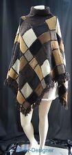 Ralph Lauren turtleneck poncho hand knit fringe sweater wool mohair OSFM NEW VTG