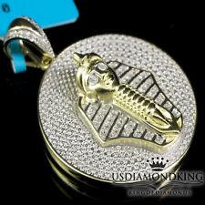 King Tut Genuine Diamond Pendant Charm Men's 10K Yellow Gold Finish Mini Pharaoh