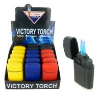 Double Jet Torch Lighter Rubber Finish Adjustable Windproof Butane Refillable 3Y