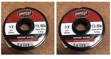 TWO Umpqua Nylon Fly Fishing Tippet Material 1X 13.5lb 30yds