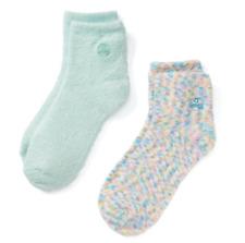 Earth Therapeutics 2-pk. Confetti & Solid Aloe Socks New