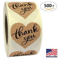 "1.5"" Heart Shape Kraft Paper Thank You Adhesive Label, 500 Stickers per Roll,"