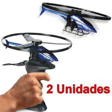 2 Unidades Helicóptero de juguete de 20 cm con Base de Disparo que lo hace volar