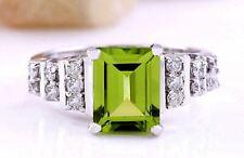 3.05 Carat Natural Peridot 14K Solid White Gold Diamond Ring