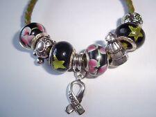 CHILDS 6 1/2 inch Cancer AWARENESS European GREEN Glass Bead HOPE Bracelet N-20