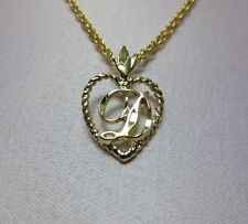 """14KT GOLD EP PERSONALIZED LETTER D HEART INITIAL WITH AN 18"""" ROPE CHAIN"""