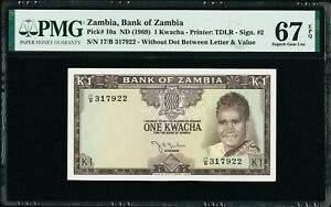 Zambia One Kwacha ND (1969) Pick-10a SUPERB GEM UNC PMG 67 EPQ HIGHEST GRADED !