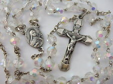 Vintage Catholic Rosary St. Therese center Medal 6mm aurora borealis glass beads