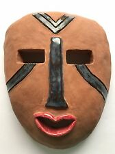 Mask Face Pottery Clay OOAK School Studio Project Red Lips Blue Lines