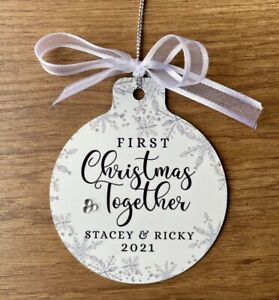 Personalised Bauble First Christmas Together Gifts For Couple Metal Keepsake