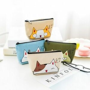 Ladies Small Zip Coin Cash Pouch Fashion Women Purse Key Holder Cats Wallet UK