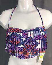 Raisins Bikini Top Fringe Tribal Colorful Print Size Small NWT