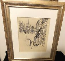 ANTIQUE ENGLISH ETCHING FRAMED UNDER GLASS SIGNED STRAND CIRCA 1889