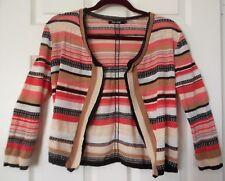 Nic+Zoe Linen Blend openfront cardigan M Brn-beige-pink stripe 3/4 slv textured