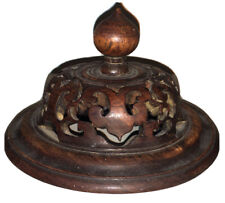 Antique Chinese Carved Wood Ginger Jar Lid 19th century Hand Carved