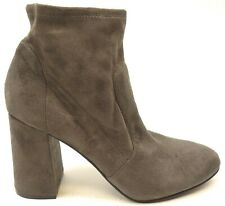 New Abound Womens Izzie Gray Faux Suede Pull-On Block Heel Ankle Boots Size 8