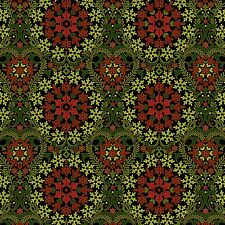 Fabric #2407 Red Green Medallions on Black Gold Metallic Sold by 1/2 Yard
