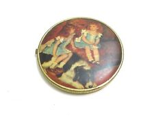 "Wonderful Vintage 4 1/2"" Hinged Folding Mirror With 2 Redhead Girls With Dog"