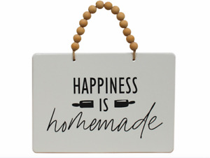 HAPPINESS is Homemade Hanging Sign Black White Hamptons Coastal Home Decor