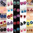 Hi New Fashion Elegant Women Crystal Rhinestone Flower Ear Stud Earrings Jewelry