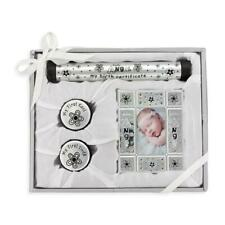 Silver Birth Certificate Tube and Frame Baby Gift Set : Keepsake Baby Gift Sets