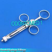 Aspirating Syringe 1.8ml Dental Surgical Manual Two Tip Piston Ring Grip