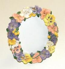 """Lovely Resin 3D Hand-Painted Multi-Color Pansies Oval 3 3/4""""x4 3/4"""" Photo Frame"""