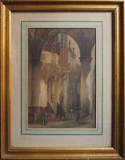 Tableau Intérieur d'église animé XIX° siècle Bretagne ? + cadre