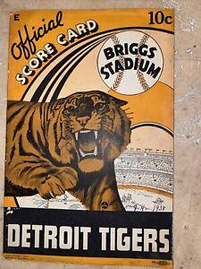 1938 detroit tigers cleveland indians score card MLB Baseball Scored Feller