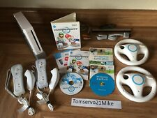 Nintendo Wii Console Mario Kart Bundle With Wii Sports and 2 Wheels AWESOME