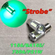 Strobe Flash Rear Turn Signal light 1156 BA15S 7506 P21W Green LED Bulb W1 JA