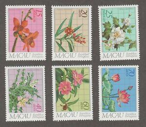 MACAU 1983 FLOWER SET MNH SCOTT 477-482