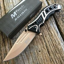 """8.25"""" Tan MTECH XTREME BOWIE Spring Assisted Open TACTICAL Pocket Knife New.."""