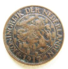 NETHERLANDS ANTIQUE 1917  ONE CENT COIN   IN A VERY COLLECTABLE GRADE
