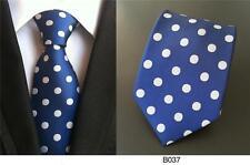 Bleu et blanc Polka Dot fait main 100% Soie Mariage Cravate
