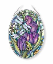 """SIMPLY ENCHANTED DRAGONLY AMIA STAINED GLASS SUNCATCHER 5.5"""" X 7"""" OVAL   42672"""