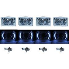 "4X6"" White LED Halo Projector Halogen Headlight Headlamp Bulbs Crystal Clear Set"