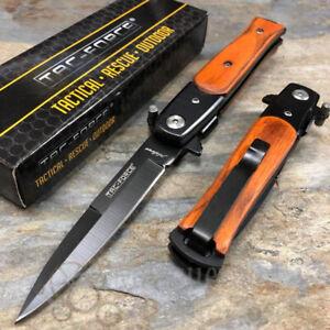 Tac Force Milano Spear Point Blade Brown Pakkawood Spring Assisted Pocket Knife