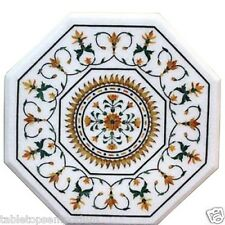 "24""x24"" White Marble Top Side Table Multi  Gem Mosaic Inlay Marquetry Home Decor"