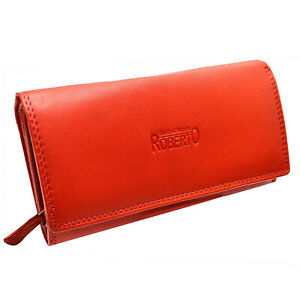 Damen Leder Geldbörsen Damen Portemonnaie mit viel Stauraum 16 Kartenfächern rot
