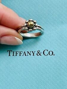 Tiffany And Co Silver And 18K Gold Jolie Flower Ring Size 6 By Paloma Picasso