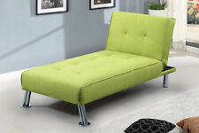 Hot Sale - Fabric Chaise Lounge 1 Seater Single Sofa Chair Bed Lime Green