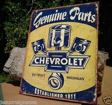 Vintage Genuine Chevy Parts Tin Metal Sign 1911 Garage Shop GM Rustic Pistons