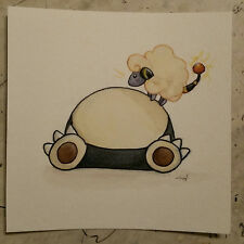 pokemon watercolor painting Cute Snorlax Mereep Sheep Sleeping Electric