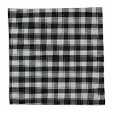 Set of 4 Black & White French Check Cotton Napkins
