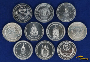 LOT OF 10 DIFFERENT THAILAND 20 BAHT 1996-2017 COMMEMORATIVE NICKEL COINS UNC A