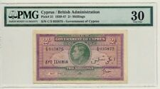 GOVERNMENT OF CYPRUS 1942 2 SHILLINGS P21 PMG VF30 RARE DATE