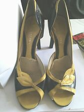Marc Jacobs Black & Yellow Retro Leather Peep Toe Pumps Size 41 Pre-Owned Style